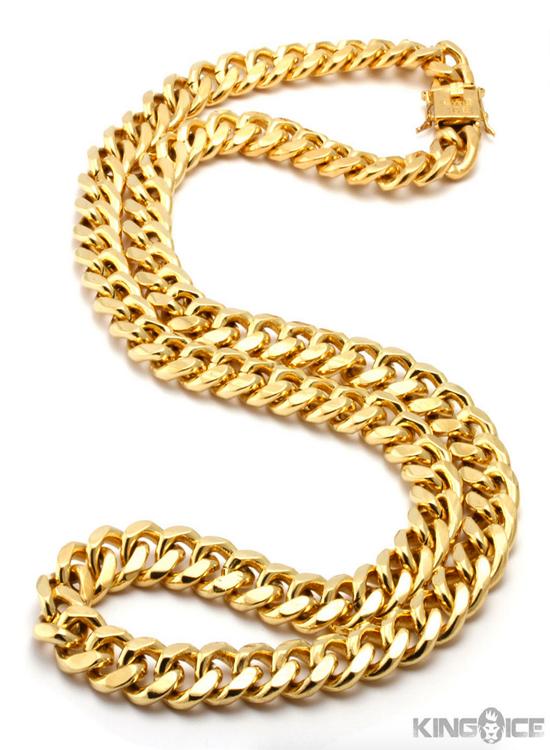 King Ice 12mm 14k Gold Miami Cuban Curb Chain Cuban Link