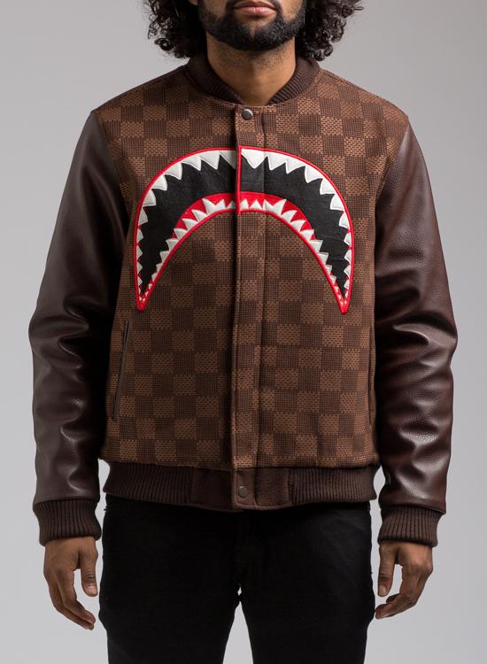 Hudson Shark Mouth Varsity Jacket In Brown Hudson Outerwear Jacket