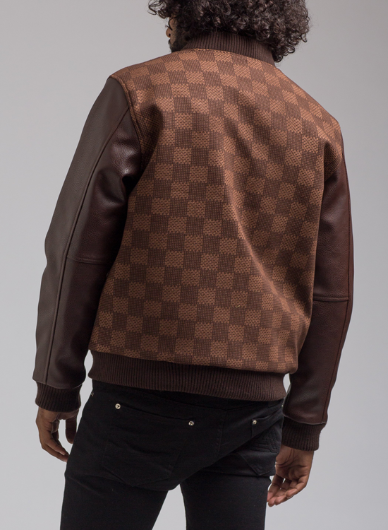 Hudson Shark Mouth Varsity Jacket In Brown Hudson Outerwear Jacket