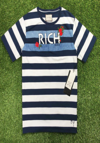 RICH PEOPLE Embroidery Stripe Tee