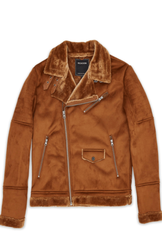 REASON Coalition Suede Shearling Moto - Brown